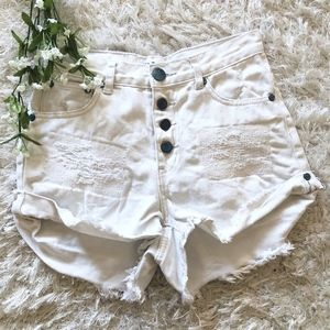 One Teaspoon Hawks in Frost White Denim Shorts 24